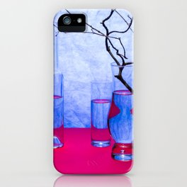 Still life with glass objects on a blue background iPhone Case