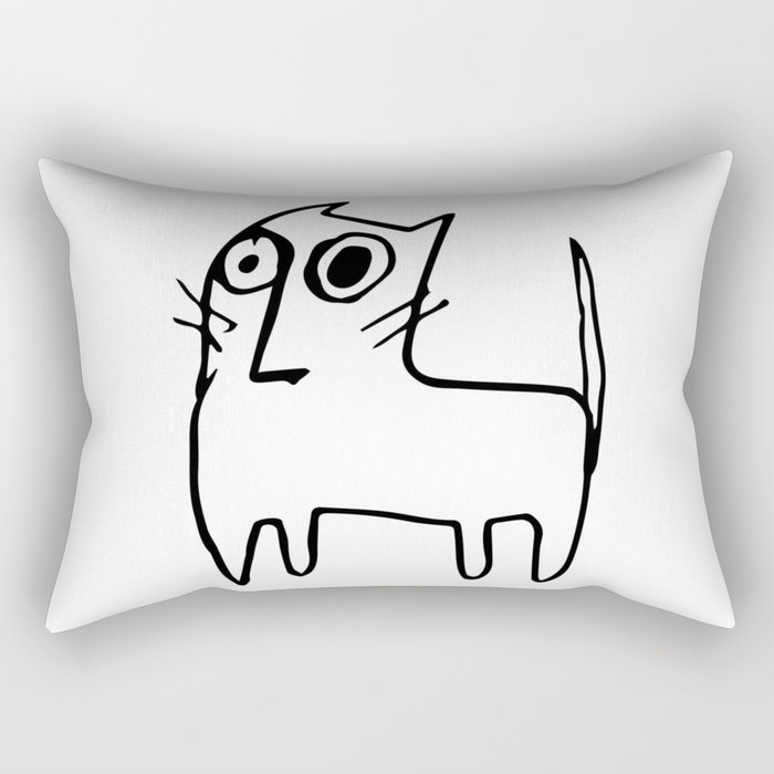 A mangy, miffed and slightly damaged cat Rectangular Pillow
