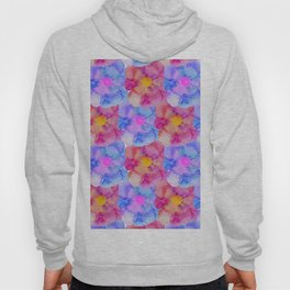 Artsy Pink Blue and Purple Watercolor Flowers Hoody