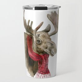 Moose in a Red Scarf Watercolor Travel Mug