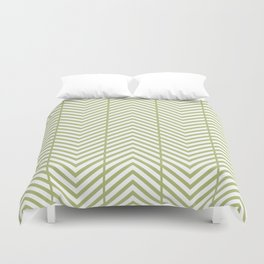 Mint Green Reverse Herringbone Zig Zag Pattern Duvet Cover
