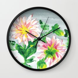 Dahlias for a cloudy day i Wall Clock