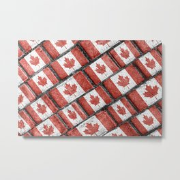 Canadian Flag Motif Pattern Metal Print