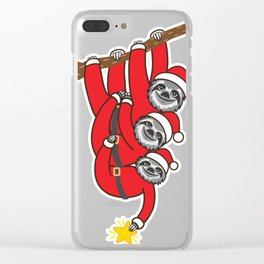 Sloth Xmas Tree Clear iPhone Case