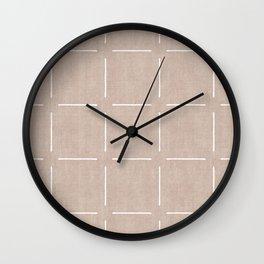 Block Print Simple Squares in Tan Wall Clock