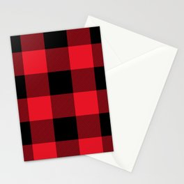 Big Red and Black Buffalo Plaid Stationery Cards