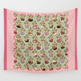 Manzanas y corazones paz y amor Wall Tapestry