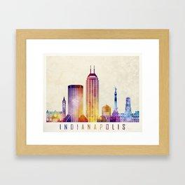Indianapolis landmarks watercolor poster Framed Art Print