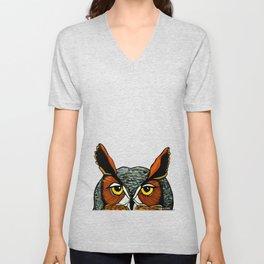 Peaking - Great Horned Owl Unisex V-Neck
