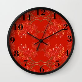 Orchids on Red Wall Clock