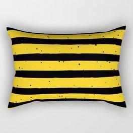 Black Yellow Vintage Stripes Pattern Rectangular Pillow