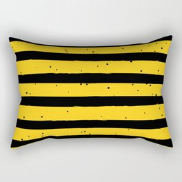Black Yellow Vintage Stripes Pattern Rectangular Pillow