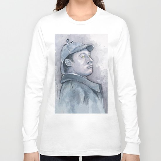 Data as Sherlock Holmes Watercolor TNG Portrait Long Sleeve T-shirt