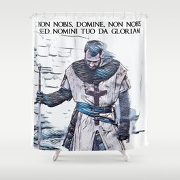Knights Templar motto / The crusader / abstract portrait Shower Curtain