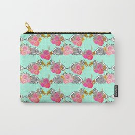 Wings and Roses Mint Green Carry-All Pouch
