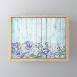 Romantic Vintage Shabby Chic Floral Wood Blue Framed Mini Art Print