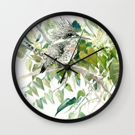 Crested Kingfisher and Japanese Knotweed Wall Clock