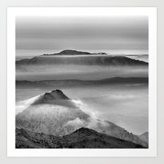 Mist at the mountains. Art Print