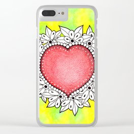 Watercolor Doodle Art | Heart Clear iPhone Case
