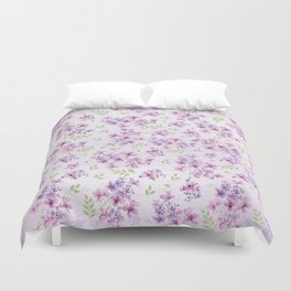 Little Purple and Pink Flowers Duvet Cover