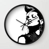 rihanna Wall Clocks featuring Rihanna. by Christine DeLong Creative Studio