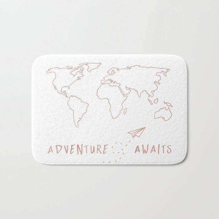 Adventure Map in Rose Gold Bath Mat
