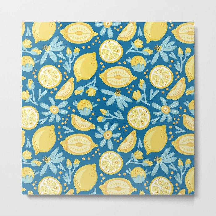 Lemon Pattern Blue Metal Print