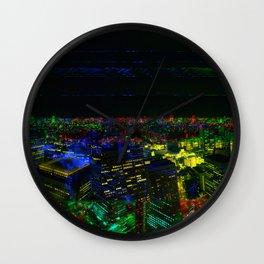 Tokyo Night Glitch Wall Clock