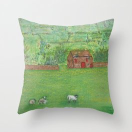 Sheep in the Countryside Throw Pillow