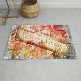 Broadway street sign mixed media art Rug