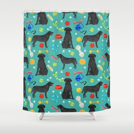 Black Lab dog toys cute dog breeds black labrador retriever gifts pet friendly Shower Curtain