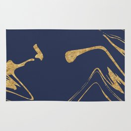 Blue And Gold Liquid Paint Rug