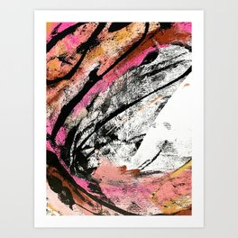 Motivation: a colorful, vibrant abstract piece in pink red, gold, black and white Art Print