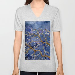 Watercolor Abstract Oak Tree Night Scene Unisex V-Neck