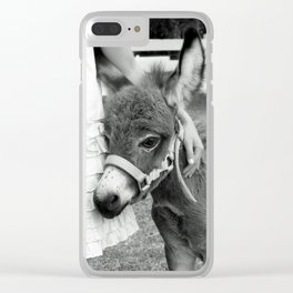 Girl and Baby Donkey Black and White Clear iPhone Case
