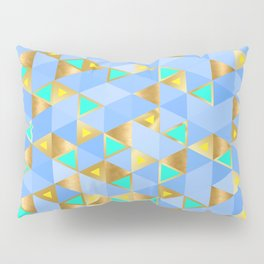 Contemporary Faux Gold and Blue Triangles Pattern Pillow Sham