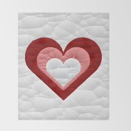 Quilted Red White Pink Simple Heart Design Throw Blanket