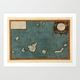 Map Of Canary Islands 1563 Art Print