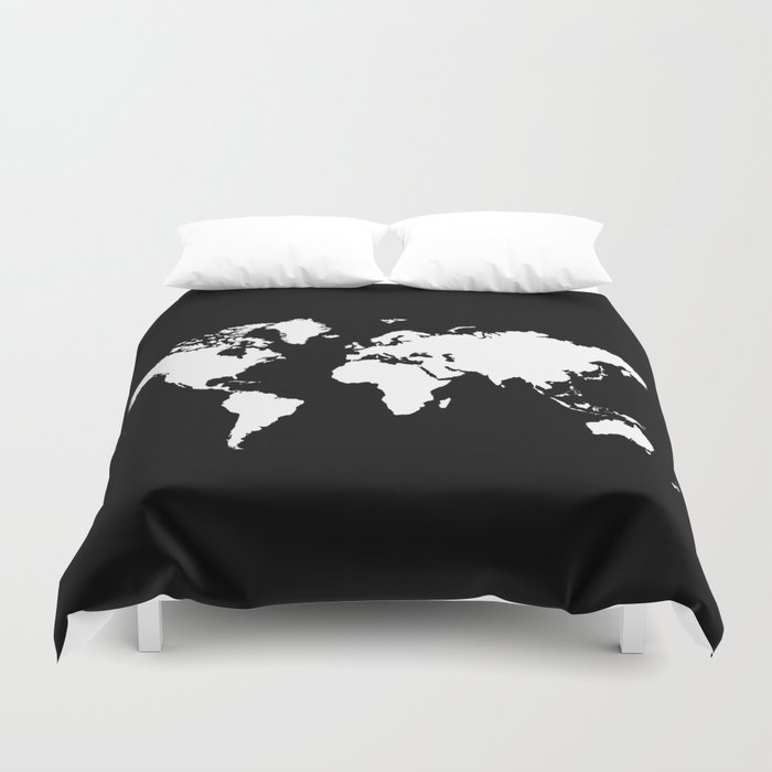 Black white world map duvet cover by haroulita society6 black white world map duvet cover gumiabroncs Gallery