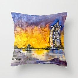 20161026 DUBAI Burj Al Arab Throw Pillow