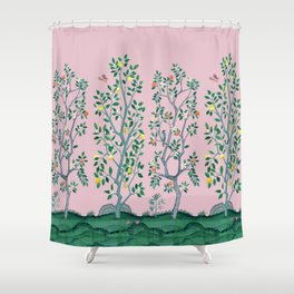 Citrus Grove Chinoiserie Mural in Pink Shower Curtain