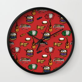 Toy Instruments on Red Wall Clock