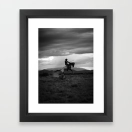 Black and White Cowboy Being Bucked Off Framed Art Print