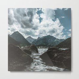 Mountains under cloudy sky Metal Print