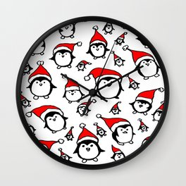 Santa Penguins Wall Clock