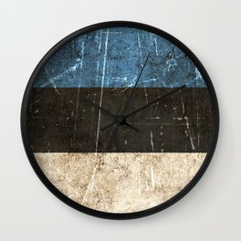 Vintage Aged and Scratched Estonian Flag Wall Clock
