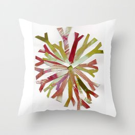 Watercolor Snowflake Red Gold Holiday Collage Throw Pillow