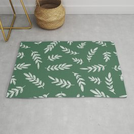 Forest Heather Green and Ivory Color Leaf Pattern Rug