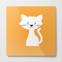Yellow white cat Metal Print
