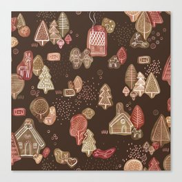 Hansel and Gretel Fairy Tale Gingerbread Pattern on Brown Canvas Print